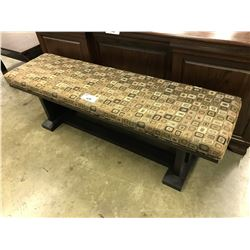 DARK WOOD PADDED BENCH