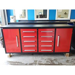 STEELMAN 7FT 10 DRAWER 2 CABINET WORK BENCH - RED