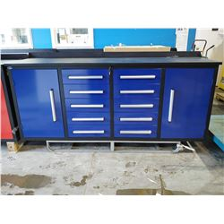 STEELMAN 7FT 10 DRAWER 2 CABINET WORK BENCH - BLUE