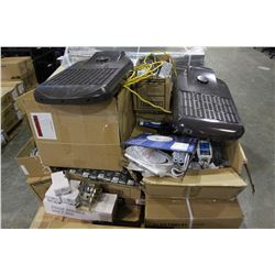 PALLET OF DEVICE BOXES, LIGHT FIXTURES AND MORE