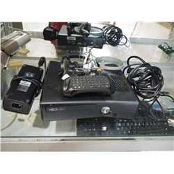 XBOX 360 CONSOLE WITH HEADSETS AND CHATPAD CONTROLLER