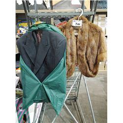 LEONARD FUR COAT AND 2 SUIT JACKETS