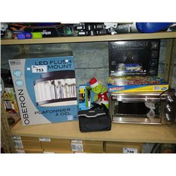 LOT INCLUDING OSTER TOASTER OVEN, OPERATION BOARD GAME, LED FLUSH MOUNT LIGHTING AND MORE