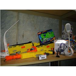 LOT OF TOYS INCLUDING NERF FORTNITE MOTORIZED DART BLASTERS, OTTOLITES, LIFE BOARD GAME AND MORE
