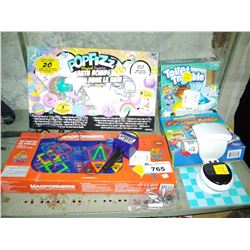 LOT OF TOYS INCLUDING TOILET TROUBLE, MAGFORMERS, SPEECH BREAKER AND FANTASTIC GYMNASTICS