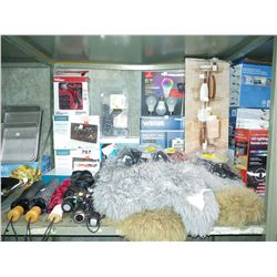 LOT INCLUDING SHEEPSKIN RUGS, SHOWER CADDY, WEISER SECURITY LOCK, PS4 HEADPHONES AND MORE