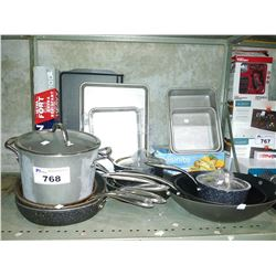 LOT OF KITCHEN SUPPLIES INCLUDING ASSORTED POTS AND PANS, FOOD FILM AND ALUMINUM WRAP