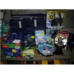 LOT OF ASSORTED LIGHTING INCLUDING STRING LIGHTS, LIGHT PROJECTORS, SNOW GLOBE, AND MORE
