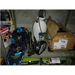 LOT INCLUDING SPRAYER, BOX OF THERMAL WINE GLASSES, SNOW SHOES AND MORE
