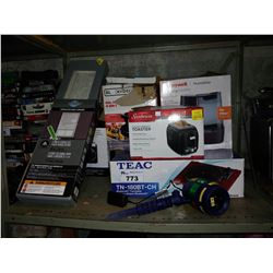LOT INCLUDING FAUX WOOD BLINDS, LASER LIGHT PROJECTOR, TEAC TURNTABLE, GRILL PRESS AND MORE
