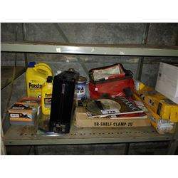LOT INCLUDING ANTIFREEZE, BRAKE FLUID, MILWAUKEE BAG WITH CONTENTS, GATEWAY COMPUTER AND MORE