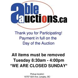 ALL ITEMS MUST BE REMOVED BY MONDAY 4:00PM