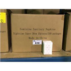 PALLET INCLUDING 16 BOXES OF NIGHTTIME SUPER ABSORBENT 36CM FEMININE SANITARY NAPKINS 10 PCS / 100
