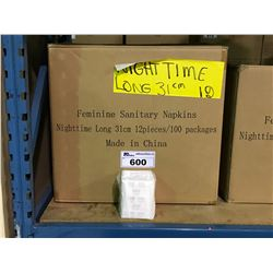 PALLET INCLUDING 17 BOXES OF NIGHTTIME LONG 31CM FEMININE SANITARY NAPKINS 12 PCS / 100 PACKS
