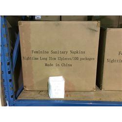 PALLET INCLUDING 16 BOXES OF NIGHTTIME LONG 31CM FEMININE SANITARY NAPKINS 12 PCS / 100 PACKS