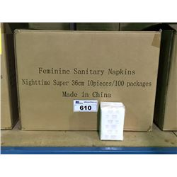 PALLET INCLUDING 18 BOXES OF NIGHTTIME SUPER ABSORBENT 36CM FEMININE SANITARY NAPKINS 10 PCS / 100