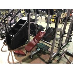 ATLANTIS GREY / RED COMMERCIAL INCLINED ASSISTED FREE WEIGHT BENCH PRESS