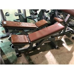 TECHNOGYM GREY / BROWN ADJUSTABLE COMMERCIAL INCLINED EXERCISE BENCH