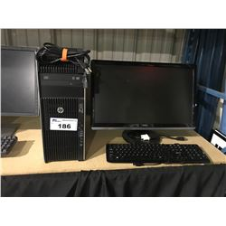 HP Z620 WORKSTATION COMPUTER INCLUDES MONITOR & KEYBOARD (HARDDRIVE REMOVED)
