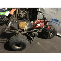 RED HONDA GAS POWERED 3 WHEEL ATV ( NO REGISTRATION, NO KEYS, CONDITION UNKNOWN )