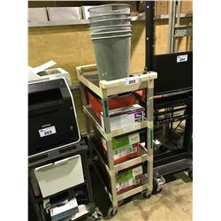 4 TIER MOBILE CART WITH ASSORTED COPY PAPER, TONER CARTRIDGE & WASTE BASKETS
