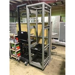 GREY SERVER RACK WITH DELL MONITOR