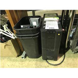 CYBERPOWER PR22000LCD COMPUTER & BIN OF ASSORTED COMPUTER HARDWARE