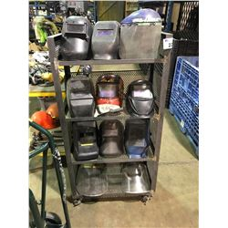 4 TIER MOBILE METAL SHELF UNIT WITH 11 ASSORTED WELDING MASKS & FACE SHIELDS