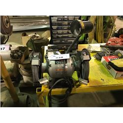 "TD 8"" BENCH GRINDER, DRILL PRESS & YELLOW WORK TABLE"