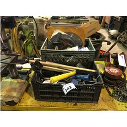 2 CRATES OF MISCELLANEOUS TOOLS & HARDWARE