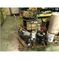 PALLET OF ASSORTED HEAD LAMPS & HOSE FITTINGS & CONTENTS