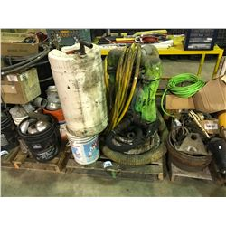 PALLET WITH PUMP & MISCELLANEOUS CONTAINERS