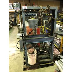 PALLET OF INDUSTRIAL 10 TON SHOP PRESS, 5 GALLON OIL PUMP & SPOOL OF CABLE