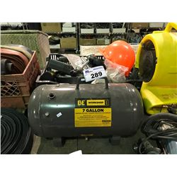 BE WORKSHOP SERIES 7 GALLON PORTABLE AIR TANK WITH CRATE OF ASSORTED TOOLWARE