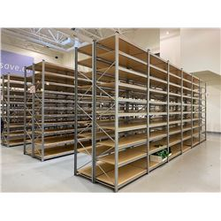 "10' ADJUSTABLE GALVANIZED METAL PARTS / PRODUCT SHELVING WITH 4' X 25"" SHELVES INCLUDING:"