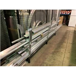 METAL RACK OF ASSORTED LENGTHS ALUMINUM TUBING, CHANNELS & RAILING