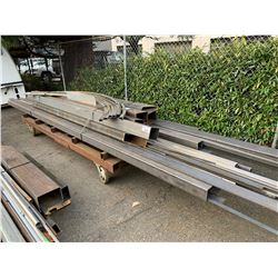 LARGE LOT OF SQUARE CHANNEL STEEL & FLAT BAR (CART NOT INCLUDED)