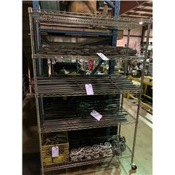 4 SHELVES OF ASSORTED METAL RODS