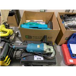 MAKITA GA705015A GRINDER, DYE PENETRANT KIT & BOX OF ASSORTED CONTENTS