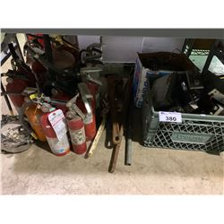 CRATE OF ASSORTED CB RADIOS, STEREOS, PIPE WRENCHES & FIRE EXTINGUISHERS