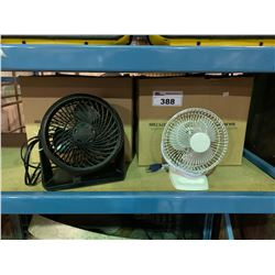 2 BOXES OF ASSORTED SMALL DESK FANS
