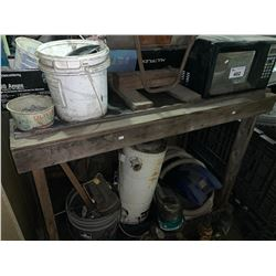 PALLET OF MICROWAVE, FLASHLIGHTS, TUBING, STOOL & CONTENTS