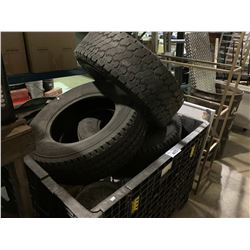 BIN OF ASSORTED TIRES, METAL RACK, BARREL OF ALUMINIUM, ROLLING BIN OF ASSORTED METAL & HEATER