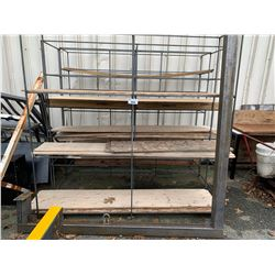3 METAL RACKS WITH SHELVES & METAL LIFTING UNIT