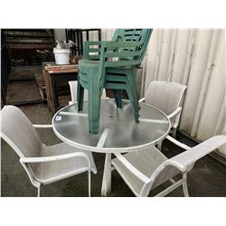ASSORTED CHAIRS WITH GLASS TOP TABLE