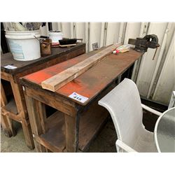 WOODEN WORK BENCH WITH VISE GRIP