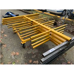 LOT OF ASSORTED METAL SCRAPS, GRATES & MOBILE CART WITH METAL SUPPORT RACKS