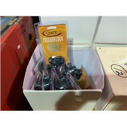 BOX OF 12 UNEX TRIGGER LOCKS WITH KEYS