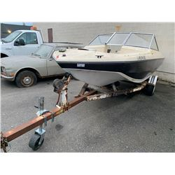 BROWN AND BEIGE BOAT ON EASYLOAD TRAILER