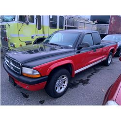 2004 DODGE DAKOTA, 2DR PU, RED/BLACK, VIN # 1D7GL32K44S679485